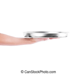 hand holding silver tray