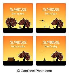 Poster set summer landscape style