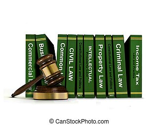 Row of Law Books and Wooden Gavel