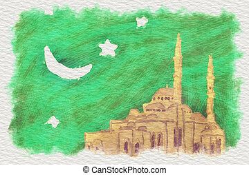 Illustration mosque - Water color illustration of a arabic...