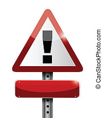 blank warning road sign illustration design over white