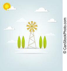 banner with an old windmill and trees