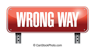 wrong way road sign illustration design
