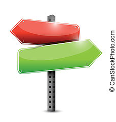 empty two way road sign illustration design over white