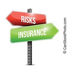 risk and insurance road sign illustration design
