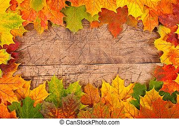 Fall leaf border - Fall maple leaf border on rustic wooden...
