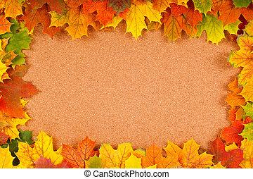 Fall border on corkboard