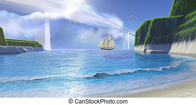 COVE - A ship sails under a modern bridge.