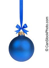 single simple blue christmas ball hanging on ribbon, white...