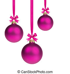 composition from three purple christmas balls hanging on...