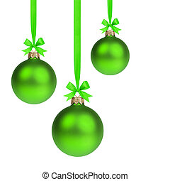 composition from three green christmas balls hanging on...