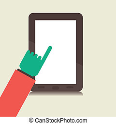 retro tablet in hand vector