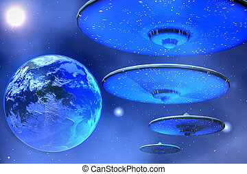 SAUCERS - Flying saucers come to Earth.