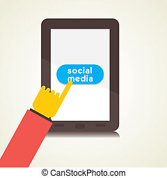 social media using tablet