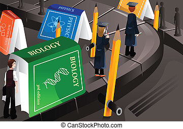 Education concept - A vector illustration of graduated...