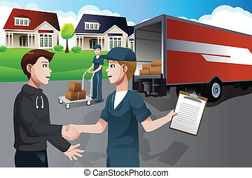 Advertising for moving company - A vector illustration of...