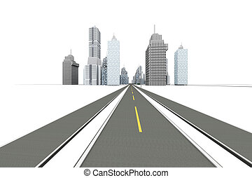 Road to the City - The road to the city 3D Illustration...