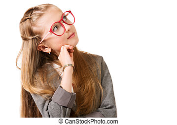 thinking girl - Portrait of a pretty ten years girl in...
