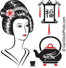 Asian set, portrait of a beautiful woman, teapot and...