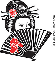 Portrait of a beautiful Asian woman with fan, black stencil