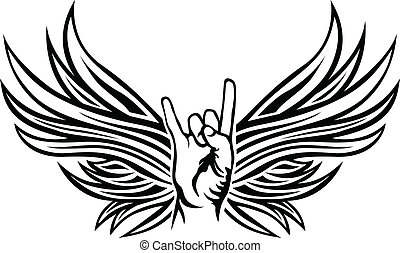 Rock and Roll hand sign with wings