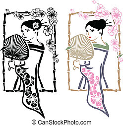Traditional Japanese Geisha with fan, stencil for stickers...