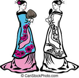 Traditional Japanese geisha woman, black stencil and color...