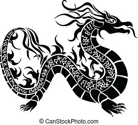 Asian dragon, black stencil