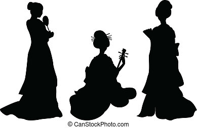 Asian woman, geisha, set of silhouettes