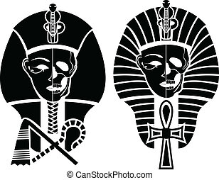 Egyptian symbol of death, half skull face Pharaoh