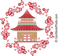 Asian House in a wreath of cherry