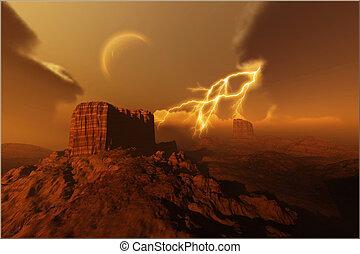 GOLDEN  CANYON - A lightning storm over a desert.