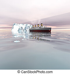 TITANIC 2 - The beautiful ocean liner near icebergs in the...
