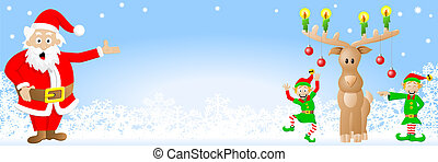 christmas banner with Santa Claus, elves and reindeer -...