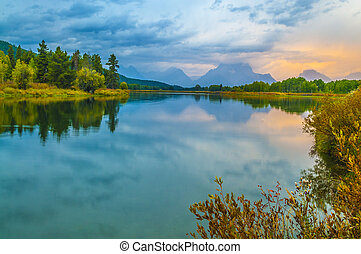 beau, subvention,  national, Parc,  teton, Levers de Soleil