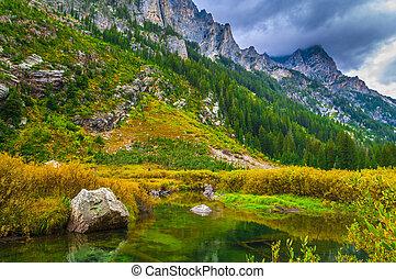 Cascade Creek - Grand Teton National Park - Dramatic Sky...