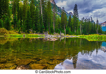 Cascade Creek - Grand Teton National Park - Dramatic Sky and...