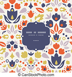 Ornamental folk tulips frame seamless pattern background -...