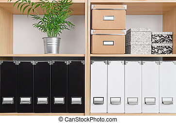 Shelves with boxes, folders and green plant - Shelves with...