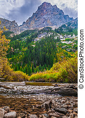 beau, automne, cascade, ruisseau, -, Grandiose, teton,...