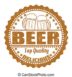 Beer stamp - Beer grunge rubber stamp on white, vector...