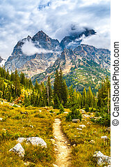 Hiking Trail in the Cascade Canyon - Grand Teton National...