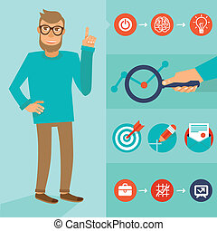 Vector character in flat style - man with idea - Vector...