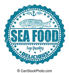 Sea food stamp - Sea food grunge rubber stamp on white,...