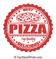 Pizza stamp - Pizza grunge rubber stamp on white, vector...