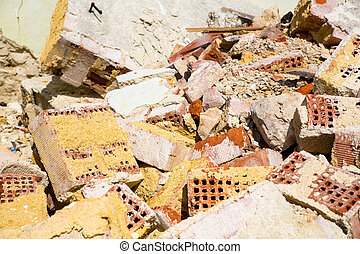 Rubble - Stones and bricks of a demolished house.