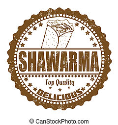 Shawarma stamp - Shawarma grunge rubber stamp on white,...