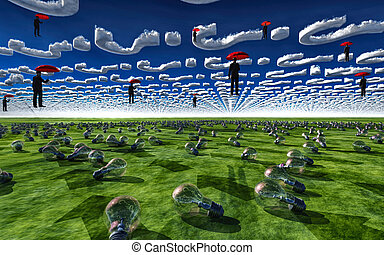 Red umbrealls and men float under query clouds