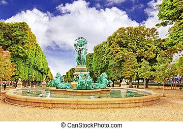Luxembourg Garden in Paris,Fontaine de l'Observatoir.Paris