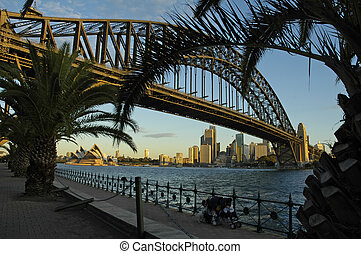 sydney landmarks, opera house and cbd in distance, harbour...